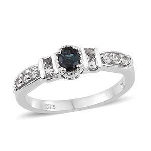 Monte Belo Indicolite, White Topaz Platinum Over Sterling Silver Ring (Size 5.0) TGW 0.90 cts.