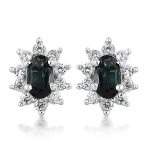 Monte Belo Indicolite, Cambodian Zircon Platinum Over Sterling Silver Earrings TGW 0.900 Cts. TGW 0.90 Cts.