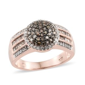 Natural Champagne Diamond, Diamond Black Rhodium & Vermeil RG Over Sterling Silver Ring (Size 6.0) TDiaWt 1.00 cts, TGW 1.00 cts.