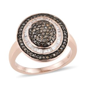 Natural Champagne Diamond, Diamond Black Rhodium & Vermeil RG Over Sterling Silver Ring (Size 7.0) TDiaWt 0.75 cts, TGW 0.75 cts.