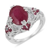 Niassa Ruby, White Zircon Platinum Over Sterling Silver Ring (Size 10.0) TGW 4.91 cts.