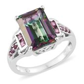 Northern Lights Mystic Topaz, Purple Garnet Platinum Over Sterling Silver Ring (Size 7.0) TGW 9.55 cts.