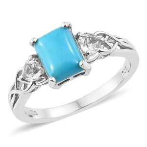 Arizona Sleeping Beauty Turquoise, White Topaz Platinum Over Sterling Silver Ring (Size 7.0) TGW 2.92 cts.