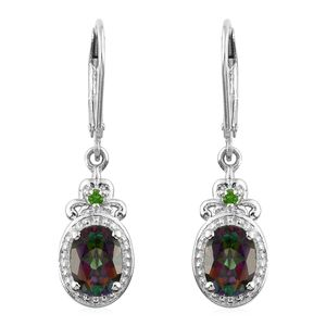 Northern Lights Mystic Topaz, Russian Diopside Platinum Over Sterling Silver Lever Back Earrings TGW 3.11 cts.