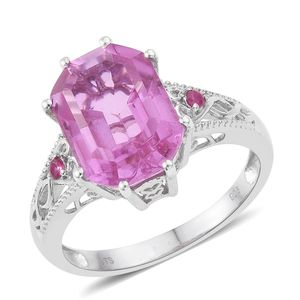 African Lilac Quartz, Ruby Platinum Over Sterling Silver Ring (Size 6.0) TGW 8.81 cts.