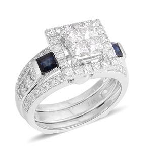 14K WG Madagascar Blue Sapphire, Diamond (H SI2) Ring Set (Size 7.0) TDiaWt 1.17 cts, TGW 1.75 cts.