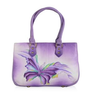 SUKRITI - Purple Butterfly Hand Painted Leather Satchel Bag (13.5x4x9 in)