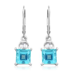 Paraiba Topaz, White Topaz Platinum Over Sterling Silver Lever Back Earrings TGW 4.30 cts.