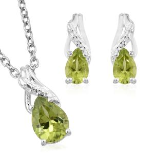 Hebei Peridot Sterling Silver Earrings and Pendant With Stainless Steel Chain (20 in) TGW 1.56 cts.