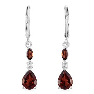 Mozambique Garnet, White Topaz Sterling Silver Lever Back Earrings TGW 2.94 cts.