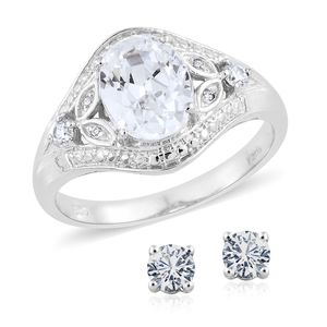 KARIS Collection - Simulated Diamond Platinum Bond Brass Stud Earrings and Ring (Size 9) TGW 5.30 cts.