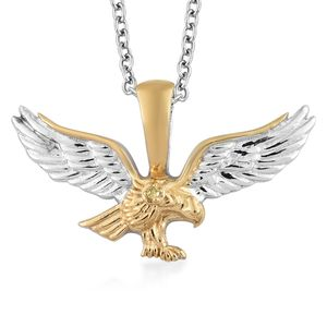 Yellow Diamond (IR) Accent 14K YG and Platinum Over Sterling Silver Eagle Pendant With Stainless Steel Chain (20 in)