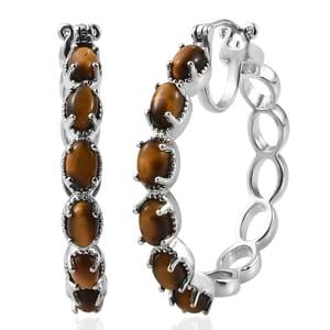 KARIS Collection - South African Tigers Eye Platinum Brass Bond Hoop Earrings TGW 5.40 cts.