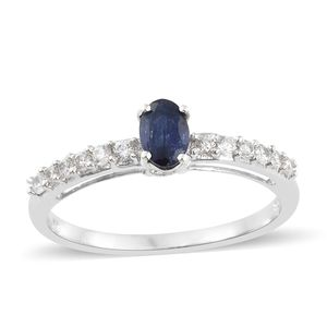 Masoala Sapphire, Cambodian Zircon Platinum Over Sterling Silver Princess Ring (Size 8.0) TGW 1.02 cts.