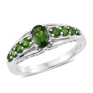 Russian Diopside Platinum Over Sterling Silver Ring (Size 7.0) TGW 1.43 cts.