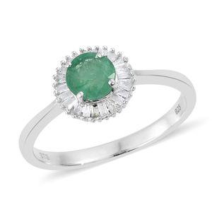 Brazilian Emerald, Diamond Platinum Over Sterling Silver Ballerina Ring (Size 7.0) TDiaWt 0.22 cts, TGW 1.00 cts.