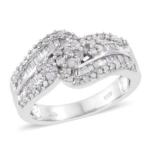 Diamond Platinum Over Sterling Silver Ring (Size 8.0) TDiaWt 1.00 cts, TGW 1.00 cts.