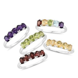 Set of 5 Multi Gemstone Sterling Silver 5 Stone Line Rings (Size 6) TGW 9.32 cts.