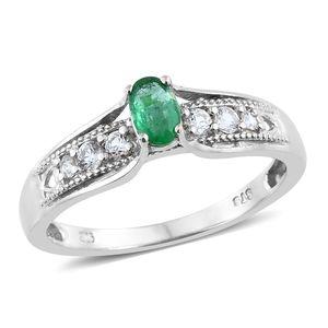 Brazilian Emerald, Cambodian Zircon Platinum Over Sterling Silver Bridge Ring (Size 7.0) TGW 0.81 cts.