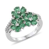 Brazilian Emerald, Cambodian Zircon Platinum Over Sterling Silver Ring (Size 8.0) TGW 2.47 cts.