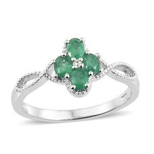 Brazilian Emerald, Diamond Accent Platinum Over Sterling Silver Split Ring (Size 7.0) TGW 0.61 cts.