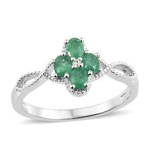 Brazilian Emerald, Diamond Accent Platinum Over Sterling Silver Split Ring (Size 7.0) TGW 0.61 cts.