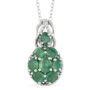 Brazilian Emerald, Cambodian Zircon Platinum Over Sterling Silver Pendant With Chain (20 in) TGW 1.34 cts.