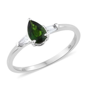 Russian Diopside, White Topaz Platinum Over Sterling Silver Ring (Size 8.0) TGW 1.15 cts.