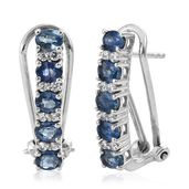 Kanchanaburi Blue Sapphire, Cambodian Zircon Platinum Over Sterling Silver Omega Clip Earrings TGW 2.60 cts.