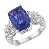 Playa Quartz Platinum Over Sterling Silver Woven Solitaire Ring (Size 8.0) TGW 7.25 cts.