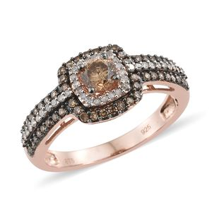 Natural Champagne Diamond, Diamond Vermeil RG Over Sterling Silver Ring (Size 9.0) TDiaWt 1.01 cts, TGW 1.01 cts.