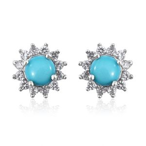 Arizona Sleeping Beauty Turquoise, Cambodian Zircon Platinum Over Sterling Silver Earrings TGW 1.07 cts.