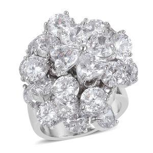 Simulated White Diamond Silvertone Ring (Size 7.0) TGW 11.20 cts.