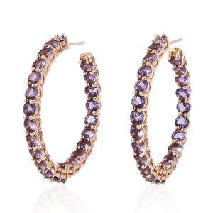 Simulated Purple Diamond Silvertone Inside Out Hoop Earrings TGW 5.00 cts.