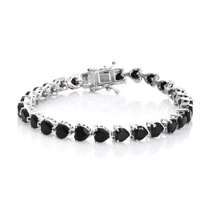 TLV Thai Black Spinel Platinum Over Sterling Silver Bracelet (6.75 In) TGW 13.22 cts.