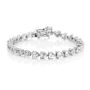 TLV White Topaz Platinum Over Sterling Silver Bracelet (6.75 In) TGW 13.22 cts.