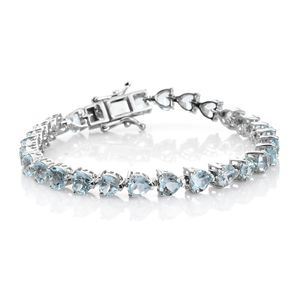 TLV Sky Blue Topaz Platinum Over Sterling Silver Bracelet (6.75 In) TGW 13.22 cts.