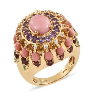 Oregon Peach Opal, Multi Gemstone 14K YG Over Sterling Silver Ring (Size 8.0) TGW 8.38 cts.