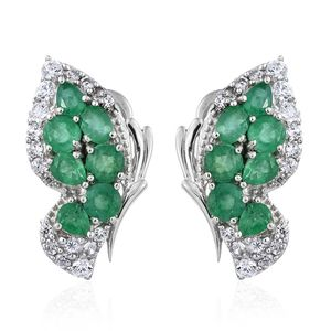 Brazilian Emerald, Cambodian Zircon Platinum Over Sterling Silver Butterfly Omega Clip Earrings TGW 4.24 cts.