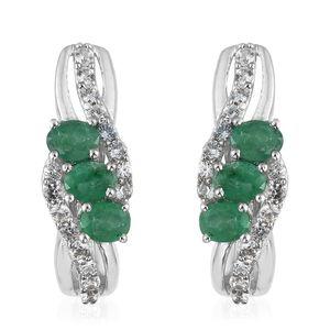 Brazilian Emerald, Cambodian Zircon Platinum Over Sterling Silver Earrings TGW 1.29 cts.
