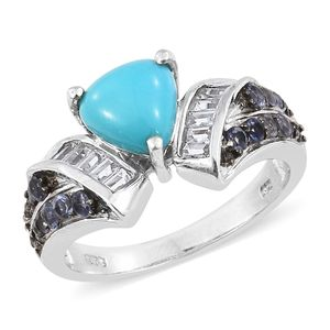 Arizona Sleeping Beauty Turquoise, Multi Gemstone Platinum Over Sterling Silver Ring (Size 7.0) TGW 3.11 cts.