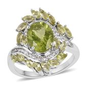 Hebei Peridot, White Zircon Sterling Silver Fancy Bypass Ring (Size 10.0) TGW 4.91 cts.