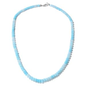 Peruvian Ocean Blue Opal Enhanced Beads Platinum Over Sterling Silver Necklace (20 in) TGW 120.00 cts.