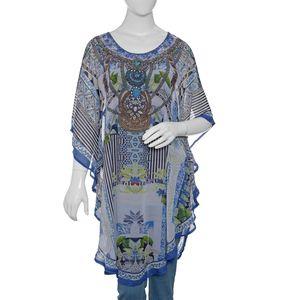 Blue' Digital Printed Kaftan (43x28 in, 100% Polyester)