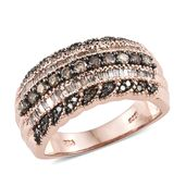 Natural Champagne Diamond Black Rhodium & Vermeil RG Over Sterling Silver Ring (Size 10.0) TDiaWt 1.00 cts, TGW 1.00 cts.