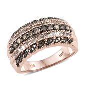 Natural Champagne Diamond Black Rhodium & Vermeil RG Over Sterling Silver Ring (Size 7.0) TDiaWt 1.00 cts, TGW 1.00 cts.