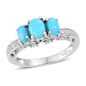 Arizona Sleeping Beauty Turquoise, Cambodian Zircon Platinum Over Sterling Silver Ring (Size 5.0) TGW 1.96 cts.