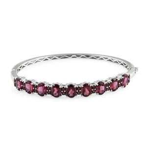 Orissa Rhodolite Garnet Platinum Over Sterling Silver Bangle (7.50 in) TGW 15.70 cts.