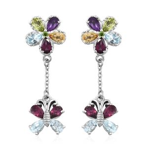 GP Multi Gemstone Platinum Over Sterling Silver Floral Butterfly Drop Earrings TGW 4.59 cts.