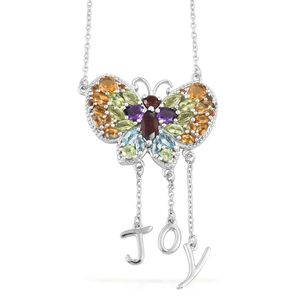 GP Multi Gemstone Platinum Over Sterling Silver Butterfly JOY Pendant With Chain (20 in) TGW 5.33 cts.